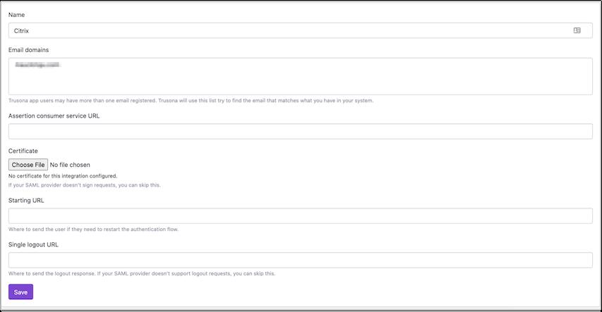 Newly created SAML integration