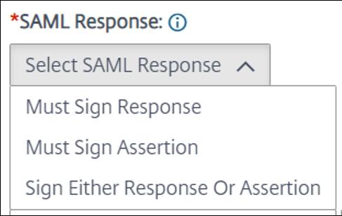 Select a SAML response
