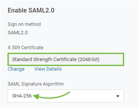 Set the SAML signature algorithm to SHA-256