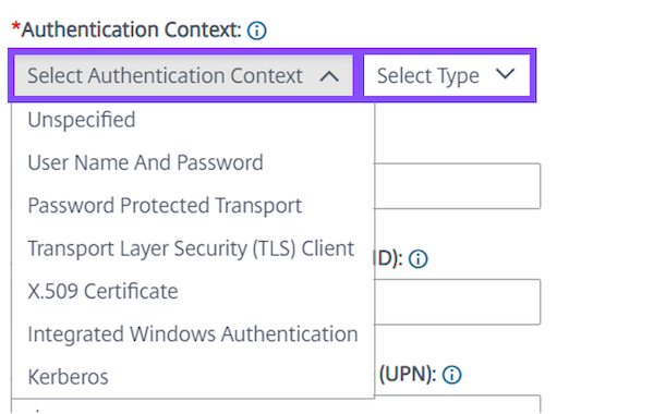 Select and choose the level of specificity you want to enforce for Authentication Context