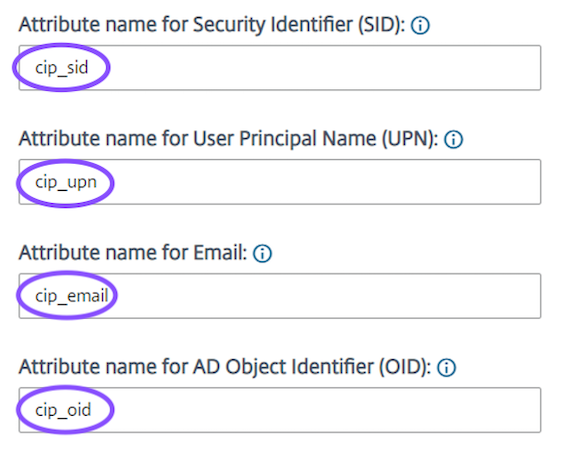 Enter the value of attributes for SID, UPN, Email & OID of the user
