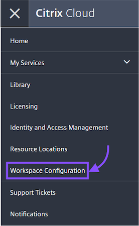 Click on the Workspace tab from the navigation menu