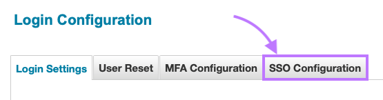 Click on the SSO Configuration tab