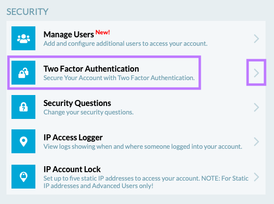 Locate the Two Factor Authentication subsection