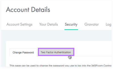 Click on the 'Enable Two Factor Authentication button'