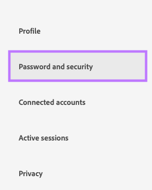 Click on Password and security