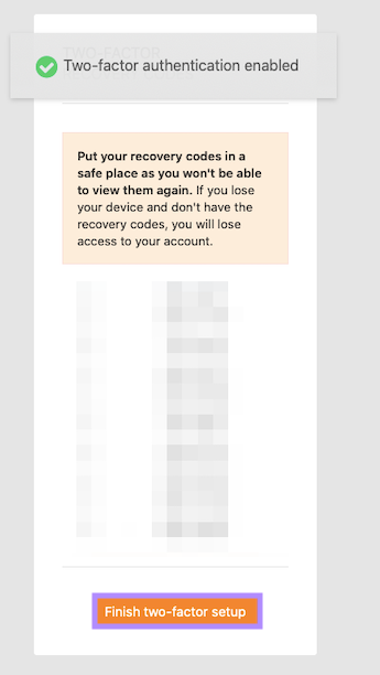 Securely store recovery codes