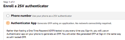 Select Authenticator app option