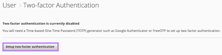 Click on the Setup two-factor authentication button