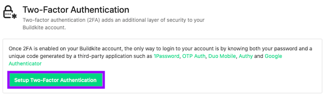 Click on Setup Two-Factor Authentication