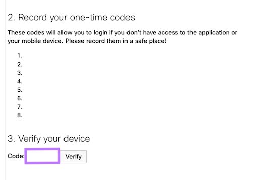 Store Backup Codes!
