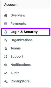 Go to Login & Security