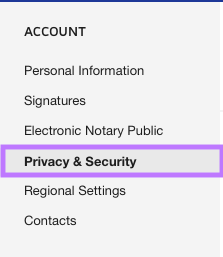 Navigate to Privacy & Security