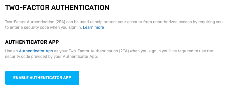 Enable Authentication App