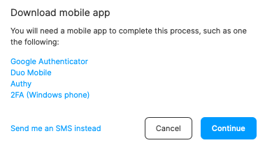 Select an authentication app