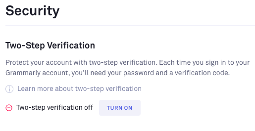 Turn on Two-factor Authentication