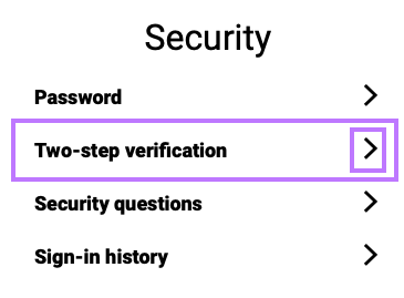 Access the Security section