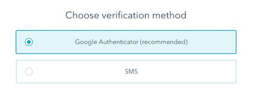 Select Google authenticator option