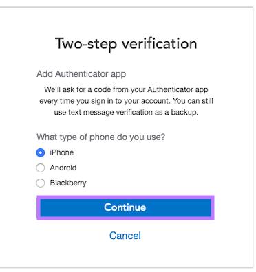 Turn on authenticator app