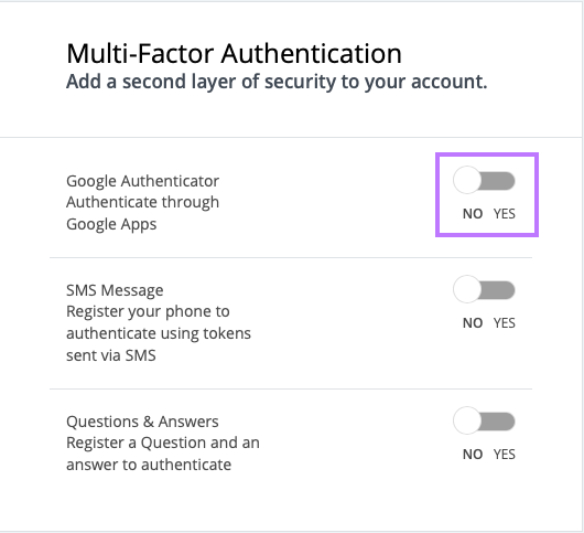Toggle the Authenticator app option