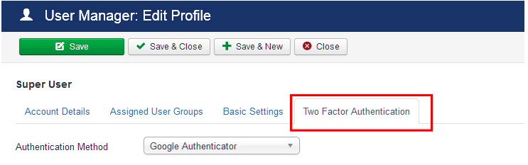 Access the Two-Factor Authentication tab