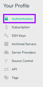 Navigate to the Authentication tab