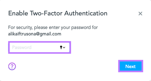 Re-enter your password