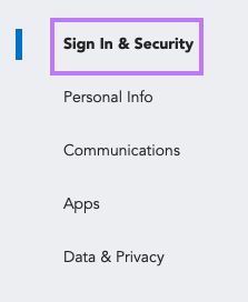 Click on Sign In & Security