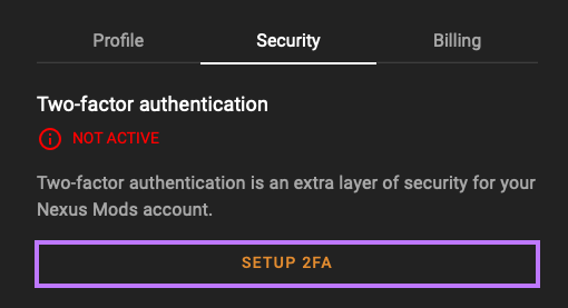 Access the security tab