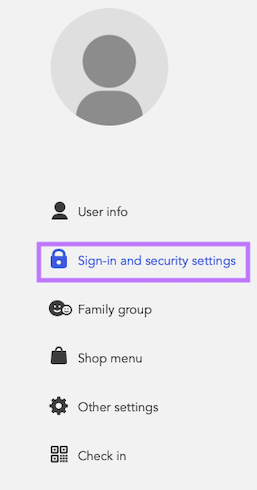 Sign-in & Security settings