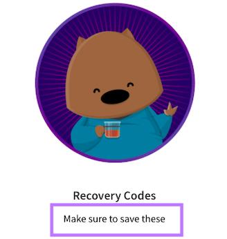 Securing backup codes