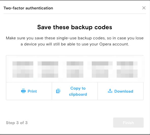 Save backup codes