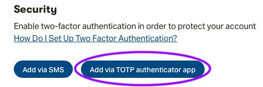 Add via TOTP button