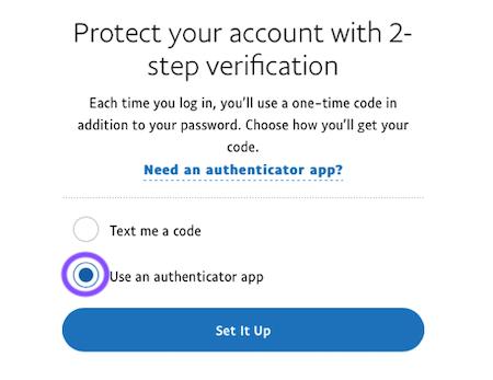 Select Use a mobile app option