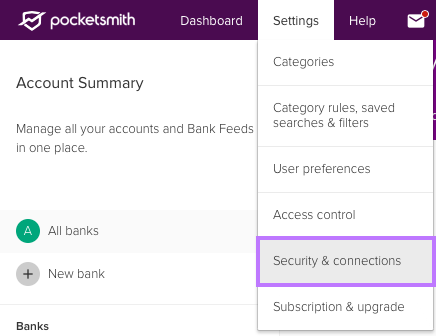 Locate 'Security & connections' tab