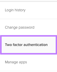 Navigate to the 'Two factor authentication' section
