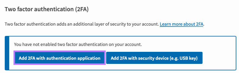 Click on Add 2FA with authentication application