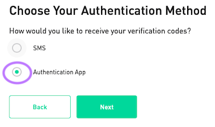 Click on the Authentication App option
