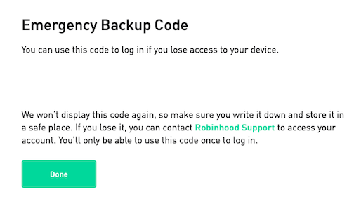 Safely store backup codes