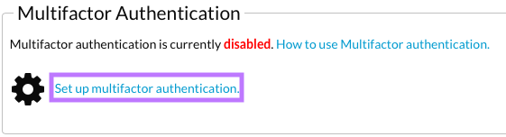 Set up multifactor authentication