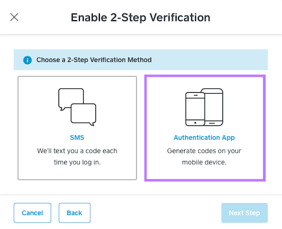 Select Authentication App