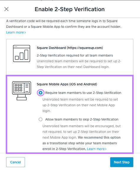 Enable 2-Step Verification on mobile