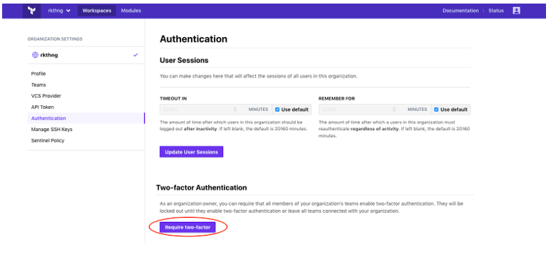 Require two-factor authentication