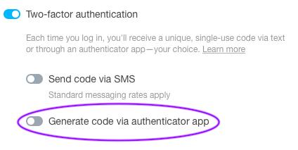 Generate code via authenticator app