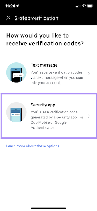 Security App option