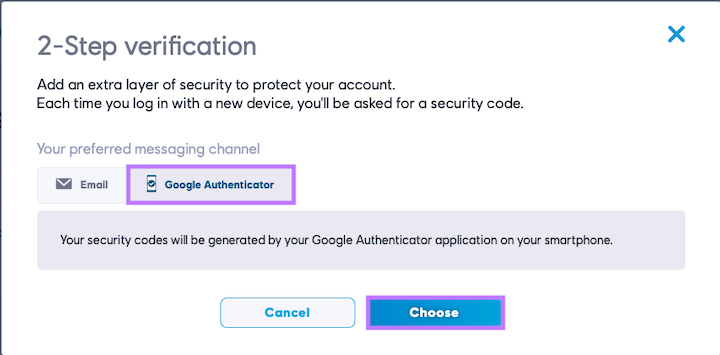 Choose Google Authenticator option