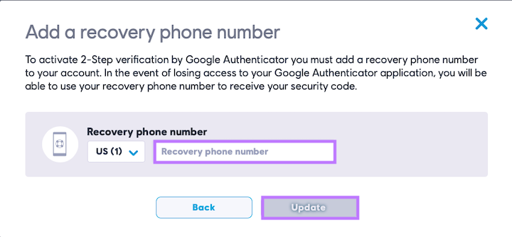 Enter recovery phone number