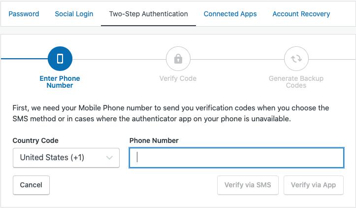 Enter phone info