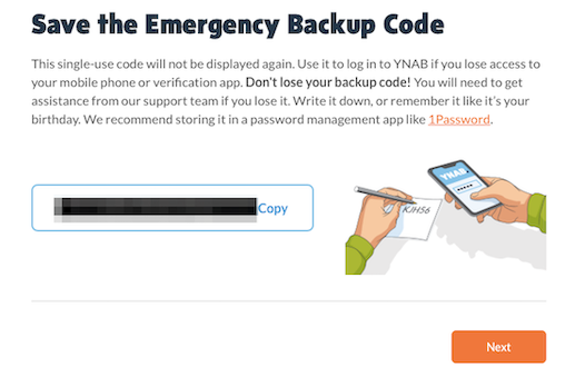 Securely store backup code